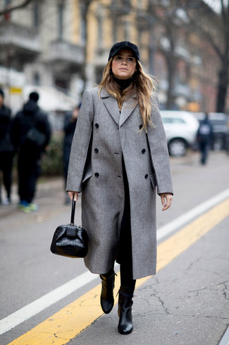 How to wear: grey coat, black turtleneck, black tapered pants, black leather ankle boots
