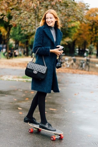 How to wear: teal coat, grey turtleneck, black leather tassel loafers, black quilted leather crossbody bag