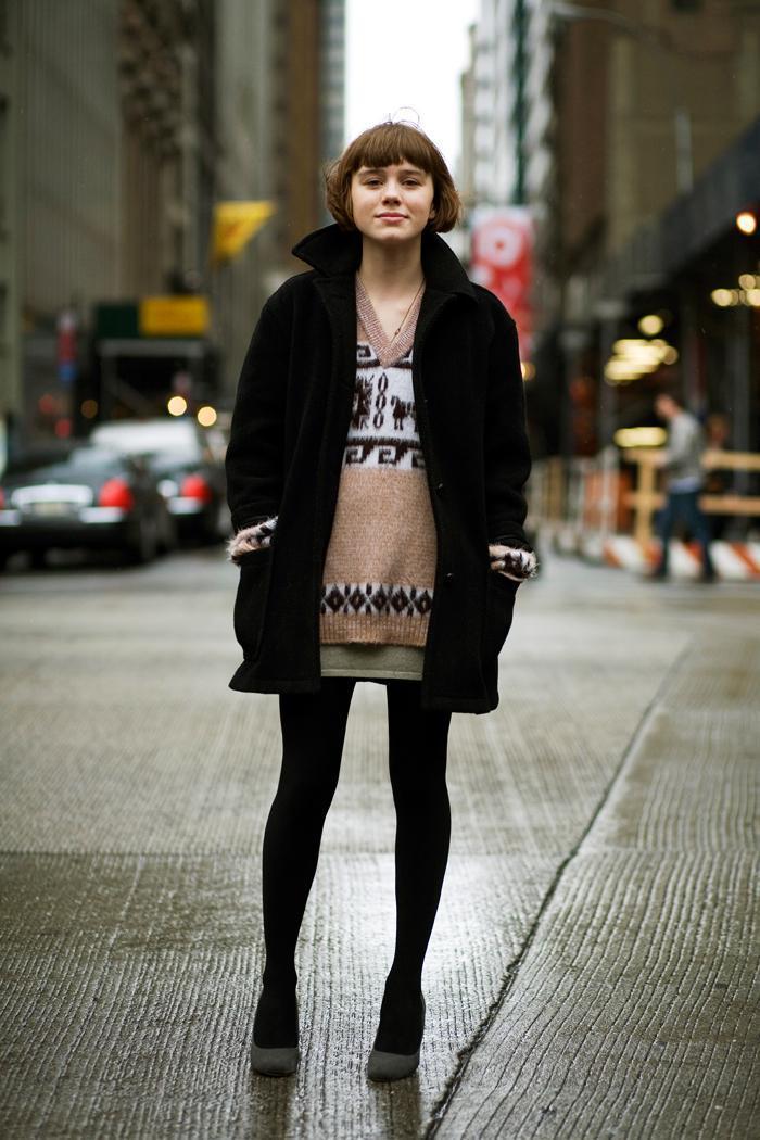 Women's Black Coat, Brown Fair Isle V-neck Sweater, Olive Mini ...