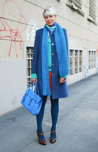 How to wear: blue coat, mint v-neck sweater, orange sheath dress, dark brown leather pumps