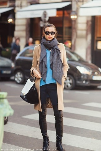 How to wear: camel coat, blue v-neck sweater, black skinny jeans, black leather over the knee boots