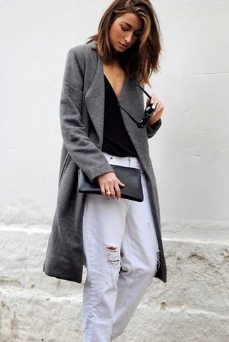 How to wear: grey coat, black v-neck t-shirt, white ripped boyfriend jeans, black leather clutch