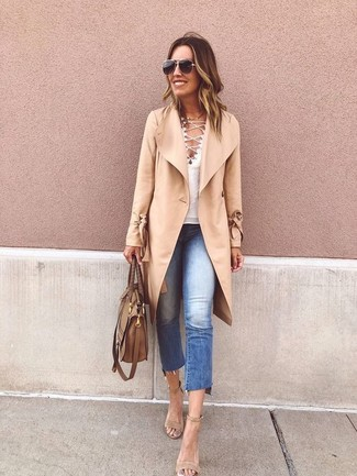 How to wear: camel coat, white v-neck t-shirt, blue ripped jeans, beige suede heeled sandals