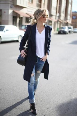 Blauer mantel damen