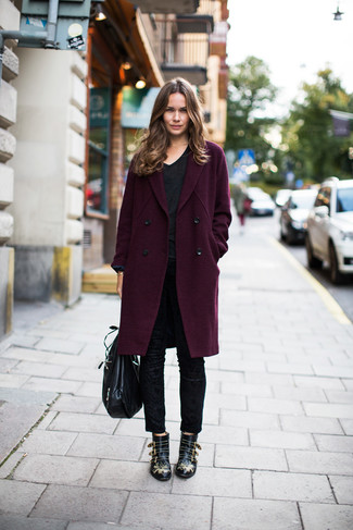 How to wear: dark purple coat, black v-neck t-shirt, black skinny pants, black studded leather ankle boots