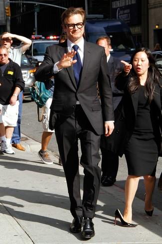 Costume noir chemise de ville blanche chaussures richelieu noires large 13772