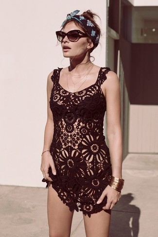 How to wear: black crochet cover-up, black bikini top, black bikini pant, dark brown sunglasses
