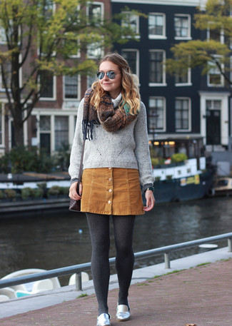 How to wear: grey cowl-neck sweater, tan suede button skirt, silver leather loafers, dark brown leather crossbody bag