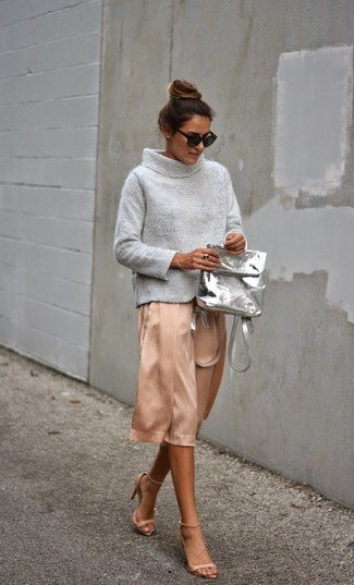 How to wear: grey cowl-neck sweater, pink silk midi skirt, beige leather heeled sandals, grey leather backpack