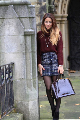 How to wear: burgundy cowl-neck sweater, navy tweed mini skirt, black suede ankle boots, burgundy leather satchel bag
