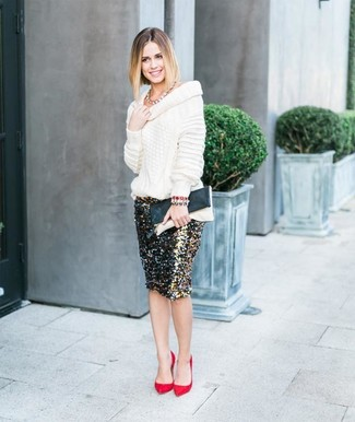 How to wear: white cowl-neck sweater, black and gold sequin pencil skirt, red suede pumps, black and white leather clutch
