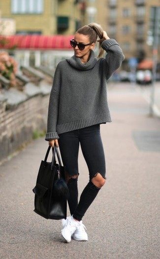 How to wear: grey cowl-neck sweater, black ripped skinny jeans, white athletic shoes, black leather tote bag