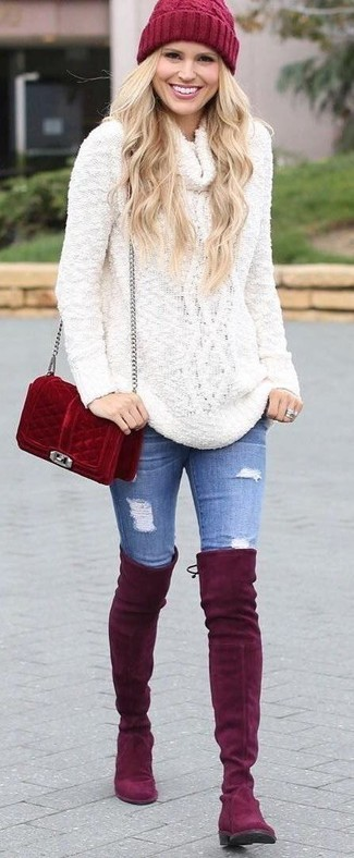 How to wear: white cowl-neck sweater, blue ripped skinny jeans, red suede over the knee boots, red suede crossbody bag