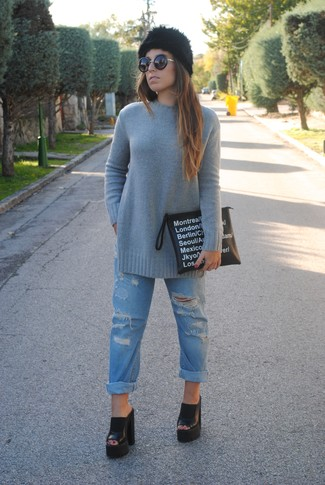 Women's Grey Crew-neck Sweater, Light Blue Ripped Boyfriend Jeans, Black Chunky Leather Mules, Black and White Print Leather Clutch