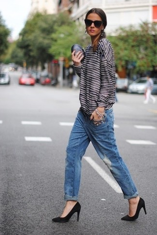 A white and black horizontal striped crew-neck jumper and blue distressed boyfriend jeans will convey a carefree, cool-girl vibe. For footwear go down the classic route with black suede pumps.