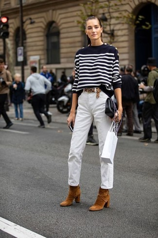 How to Wear White Chinos For Women: If you're looking for a casual but also absolutely chic outfit, pair a black and white horizontal striped crew-neck sweater with white chinos. To bring a bit of flair to this ensemble, complete your getup with a pair of tobacco suede ankle boots.