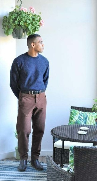 Brown Chinos Smart Casual Outfits: A navy crew-neck sweater and brown chinos will inject serious style into your day-to-day casual rotation. If you need to effortlessly bump up your getup with a pair of shoes, complement this ensemble with a pair of black leather chelsea boots.
