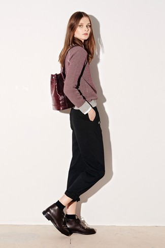 How to wear: burgundy crew-neck sweater, black chinos, burgundy leather desert boots, burgundy leather backpack