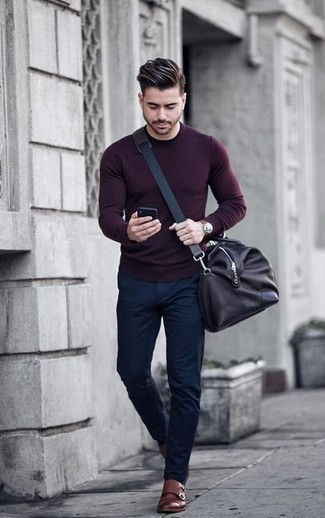 How to Wear Brown Leather Double Monks: Why not consider teaming a dark purple crew-neck sweater with navy chinos? As well as very functional, these two pieces look nice when matched together. Wondering how to complete your outfit? Wear brown leather double monks to elevate it.