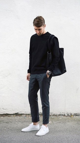 How to Wear Charcoal Chinos: When the situation permits a casual outfit, you can wear a black crew-neck sweater and charcoal chinos. If you wish to effortlesslly dress down your outfit with one item, complement this ensemble with white low top sneakers.