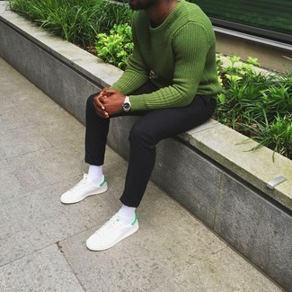 How to Wear a Green Crew-neck Sweater For Men: A green crew-neck sweater and black chinos are essential in any man's functional casual closet. To give your outfit a more laid-back feel, why not complete your ensemble with white leather low top sneakers?