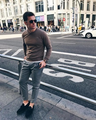 How to wear: brown crew-neck sweater, white crew-neck t-shirt, grey vertical striped chinos, black suede tassel loafers