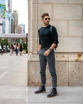 How to wear: black crew-neck sweater, white crew-neck t-shirt, charcoal chinos, black leather casual boots