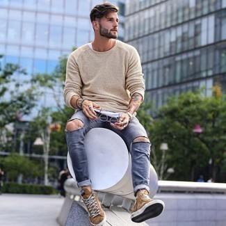 Beige Crew-neck Sweater Relaxed Outfits For Men: A beige crew-neck sweater and grey ripped jeans are the perfect way to introduce toned down dapperness into your daily casual rotation. Introduce tan suede high top sneakers to the mix and the whole outfit will come together really well.