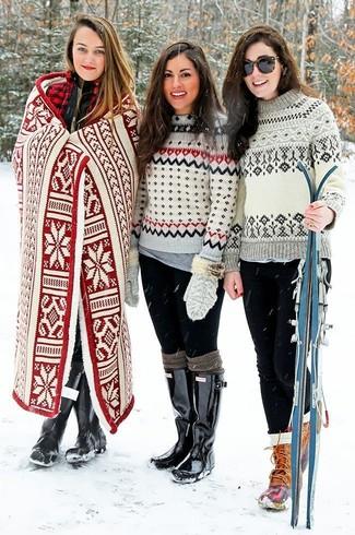 Women's Grey Fair Isle Crew-neck Sweater, Grey Crew-neck T-shirt ...