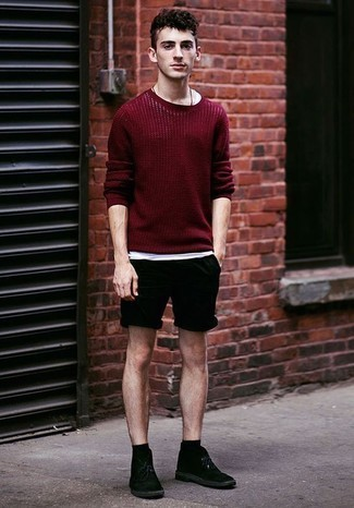 How to Wear Black Suede Desert Boots: This combination of a burgundy crew-neck sweater and black shorts will prove your expertise in menswear styling even on lazy days. A pair of black suede desert boots can integrate effortlessly within a ton of ensembles.