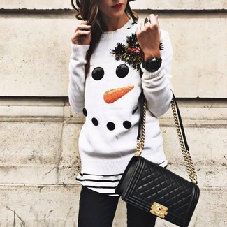 How to wear: white christmas crew-neck sweater, white and black horizontal striped crew-neck t-shirt, black skinny jeans, black quilted leather crossbody bag