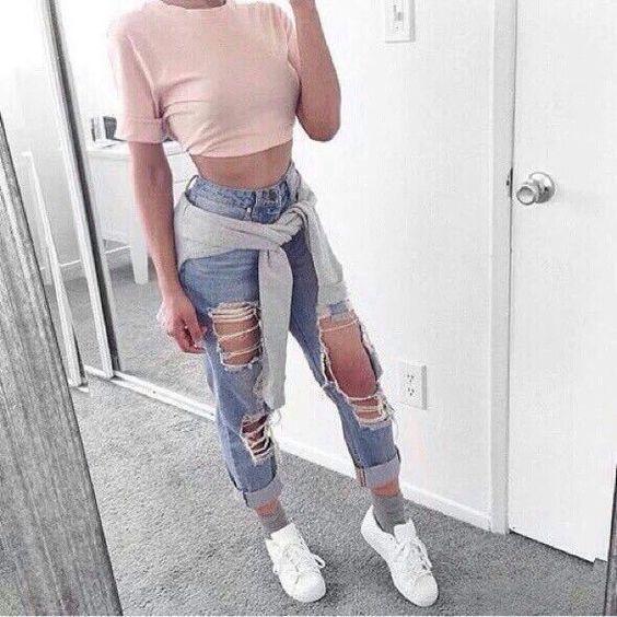 Light Blue Ripped Boyfriend Jeans | Women's Fashion