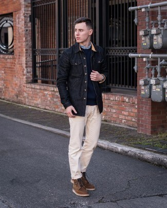 Light Blue Chambray Long Sleeve Shirt Outfits For Men: A light blue chambray long sleeve shirt and beige chinos are stylish menswear pieces, without which our wardrobes would certainly feel incomplete. A pair of brown suede casual boots instantly levels up the look.