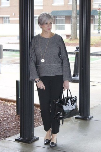 Rock a charcoal crew-neck sweater with black dress pants for a refined yet off-duty ensemble. For a more relaxed take, choose a pair of ballerina shoes. This combo is an exciting choice if you're looking for a comfortable transition ensemble.