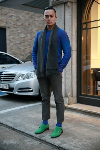 How to wear: blue crew-neck sweater, charcoal dress pants, green suede double monks, charcoal scarf