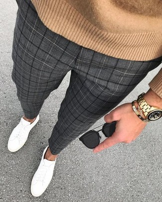 How to Wear Charcoal Plaid Dress Pants For Men: Consider wearing a tan crew-neck sweater and charcoal plaid dress pants if you wish to look seriously stylish without much effort. For times when this outfit looks too dressy, tone it down with a pair of white leather low top sneakers.