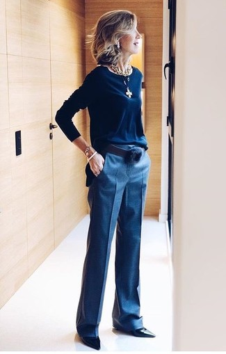 How to wear: navy crew-neck sweater, navy dress pants, black leather pumps, black leather belt