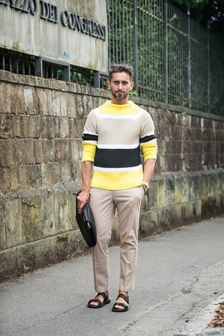 2848a419a How to Wear a Green-Yellow Crew-neck Sweater In Summer For Men (4 ...