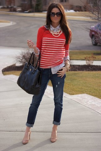 ... Women s Red and White Horizontal Striped Crew-neck Sweater 3e9b1cf4d
