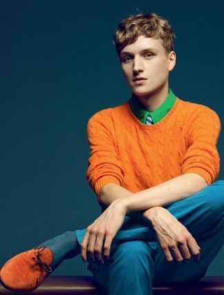 How to wear: orange crew-neck sweater, green dress shirt, blue chinos, tobacco suede tassel loafers