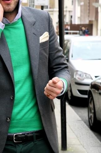 How to wear: green crew-neck sweater, light blue dress shirt, dark green dress pants, beige silk pocket square