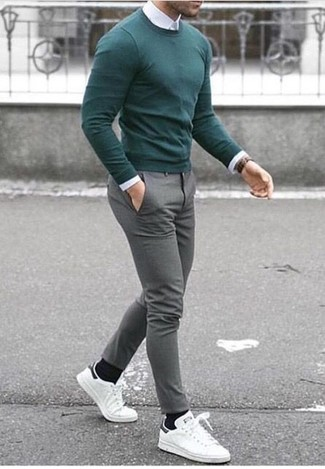 How to wear: green crew-neck sweater, white dress shirt, grey wool dress pants, white leather low top sneakers