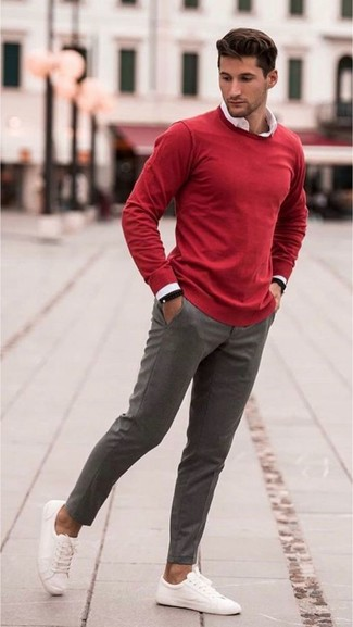 How to wear: red crew-neck sweater, white dress shirt, grey wool dress pants, white canvas low top sneakers