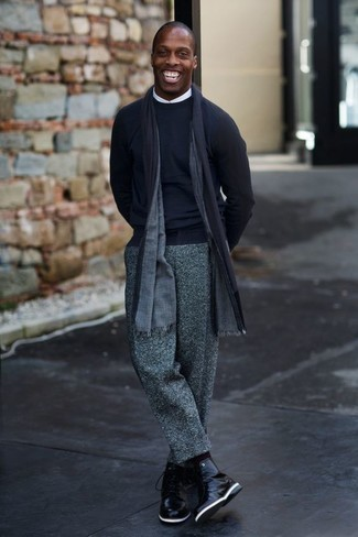 Grey Wool Dress Pants Outfits For Men: A navy crew-neck sweater and grey wool dress pants are among the foundations of a solid menswear collection. Add a laid-back feel to by sporting black leather casual boots.