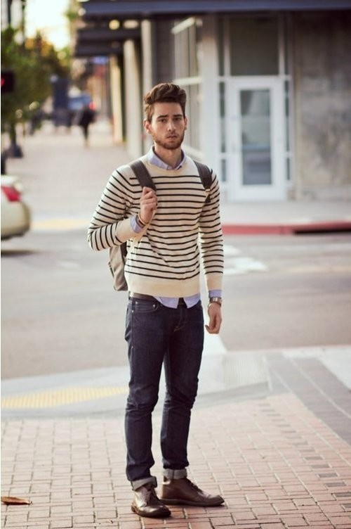 Crew Neck Sweater With Jeans Striped Crew-neck Sweater