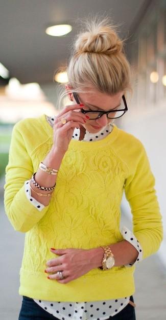 Cream And Blue Polka Dot Long Sleeve Shirt