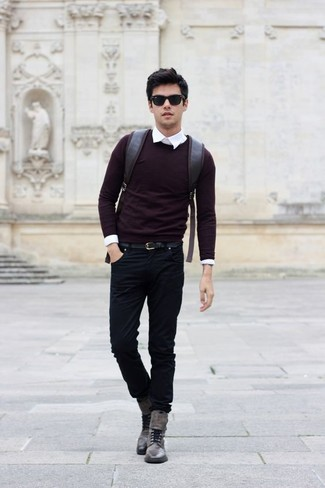 How to wear: burgundy crew-neck sweater, white dress shirt, black jeans, grey leather casual boots