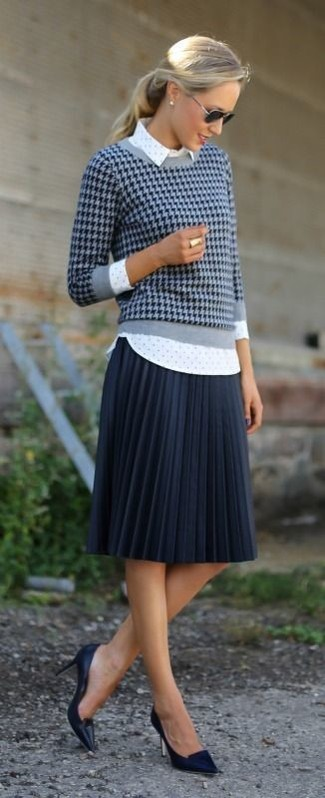 Women's Navy Houndstooth Crew-neck Sweater, White Polka Dot Dress Shirt, Navy Pleated Midi Skirt, Black Leather Pumps