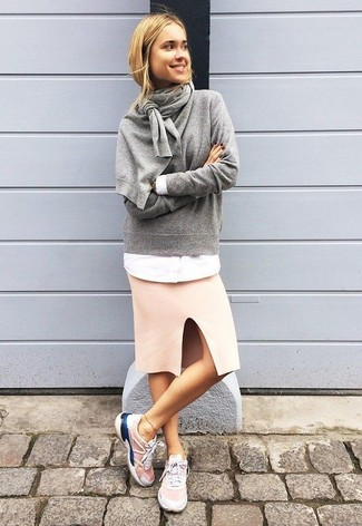 How to Wear Hot Pink Athletic Shoes For Women: Showcase your sartorial expertise by teaming a grey crew-neck sweater and a pink pencil skirt for a relaxed casual look. Don't know how to finish? Add hot pink athletic shoes to your getup for a more casual aesthetic.