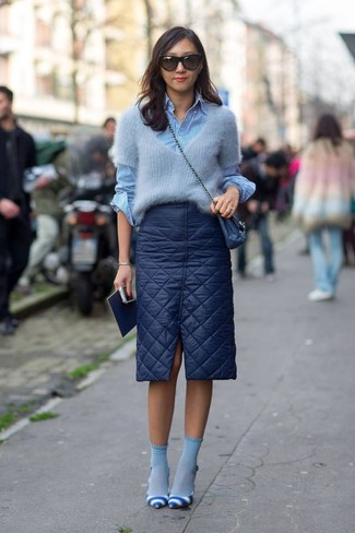 Women's Grey Mohair Crew-neck Sweater, Blue Vertical Striped Dress Shirt, Navy Quilted Pencil Skirt, White and Blue Horizontal Striped Leather Pumps